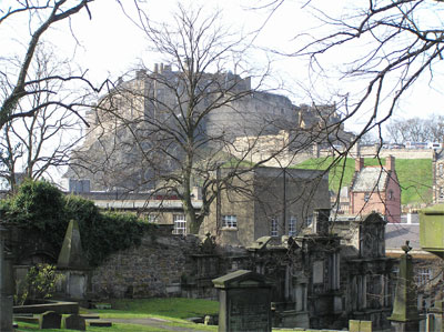 View of Edinburgh Castle from Greyfriar's churchyard