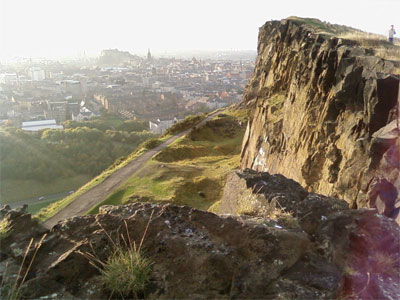 View of Edinburgh Castle from Salisbury Crags - it takes about 30-50 minutes to walk here from the flat